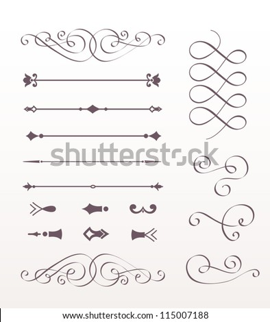 Set Calligraphic Design Elements, vector set: calligraphic design elements and page decoration - lots of useful elements, hand drawn - stock vector