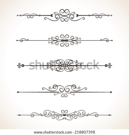 Set Calligraphic Design Elements, vector set: calligraphic design elements and page decoration - lots of useful elements - stock vector