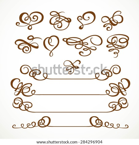 Set calligraphic symmetrical and asymmetrical elements for design on a white background 2 - stock vector