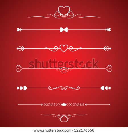 Set Calligraphic Valentine's Day Design Elements - stock vector