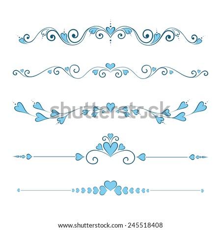 Set Calligraphic Valentine's Day Design Elements - stock vector