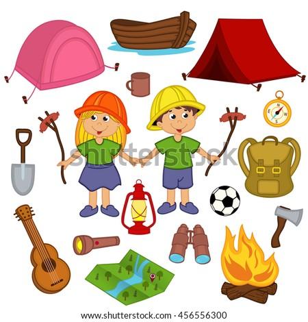 Vector Set Camping Elements Stock 366965309