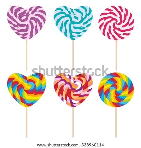 Set candy lollipops, colorful spiral candy cane. Candy on stick with twisted design on white background. Vector
