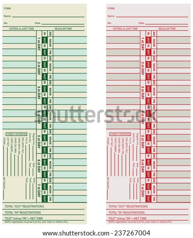 Set Card time monitoring and subsequent payment of hourly work. Vector illustration. - stock vector