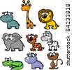Set cartoon animals - stock vector