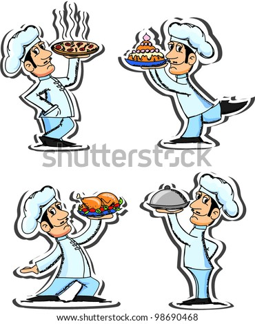 Set cartoon chefs - stock vector