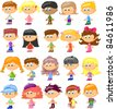 set cartoon children, pupils - stock vector