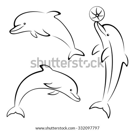 Set Cartoon Dolphins, Playing with a Ball, Black Contours Pictogram Isolated on White Background. Vector