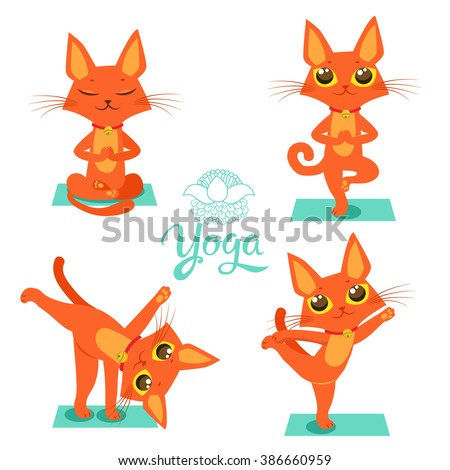 Set Cartoon Funny Cats Icons Doing Yoga PositionCat Vector Pose