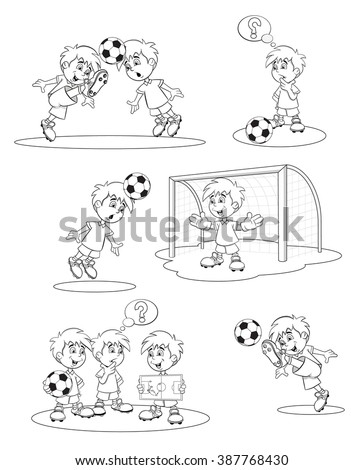 Set cartoon soccer players. Funny football players to develop strategy of the game of football. Cheerful cartoon soccer player kicks the ball. Goalkeeper on gates catches the ball. Coloring book. - stock vector