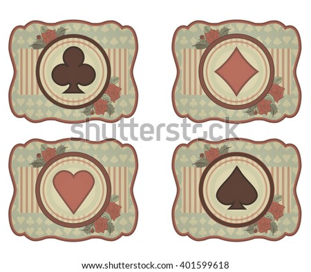 Set casino poker card in vintage style, vector illustration