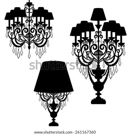 set chandelier silhouette isolated on White background. Vector illustration - stock vector