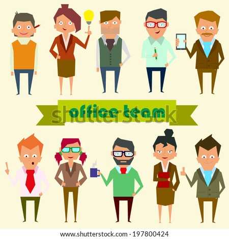 set characters for use in design. office team. vector. - stock vector