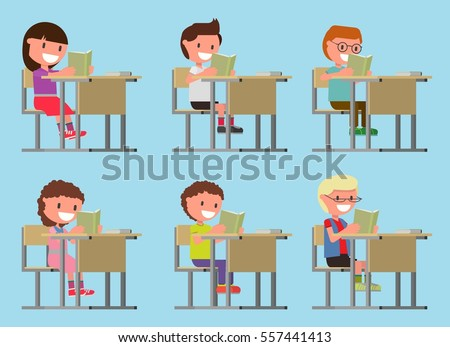set. children read a book while sitting at a desk, at the table. Girls and boys. vector illustration. Flat design style. suitable for animations