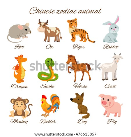 Set Chinese Zodiac animal stickers, cartoon vector illustration