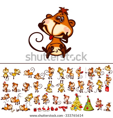 Set  chinese zodiac postcard 2016 with the monkey and stylized christmas tree. You can add as isolated icon.