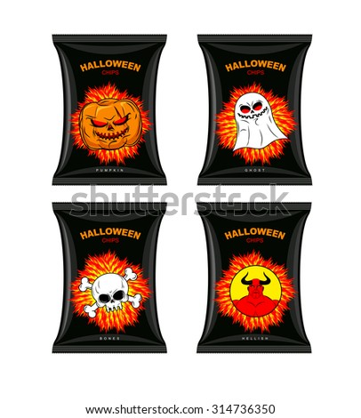 Set chips for Halloween. Terrible Food for holiday. Snacks with different tastes. Chips with pumpkin flavor. Chips with ghosts. Chips with taste of  bones. Satanic hell chips. Comic illustration - stock vector