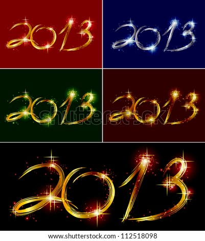 Set christmas background with glow colorful 2013. Vector illustration - stock vector