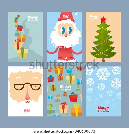 Set Christmas cute cards. Beautiful congratulations new year. Tower of gifts and kind Santa Claus. Dress up Christmas tree balls and star. Background of gifts and snowfall. Covers for winter holiday.  - stock vector