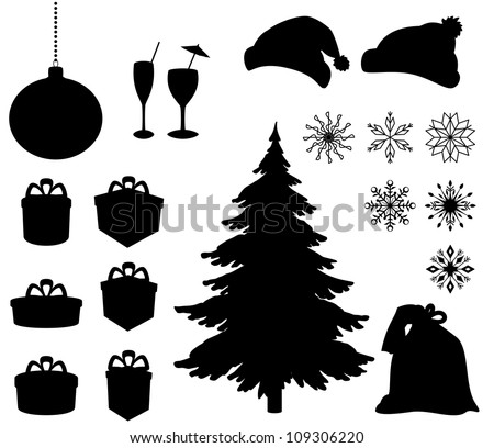 Set Christmas holiday objects. Black silhouette on white background. Vector - stock vector