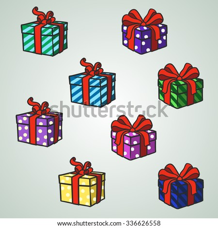 Set Christmas presents - stock vector