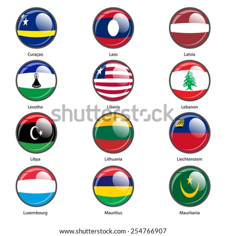 Set circle icon  Flags of world sovereign states. Vector illustration.