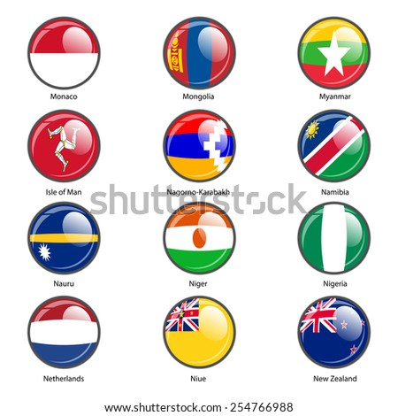 Set circle icon  Flags of world sovereign states. Vector illustration.  - stock vector