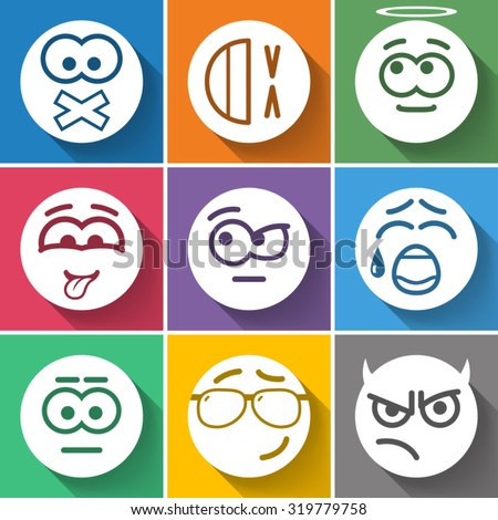 Set Circle Smiles on Color Background - stock vector