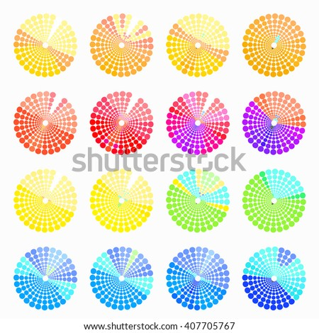 Set circular color different shades of blue. vector illustration