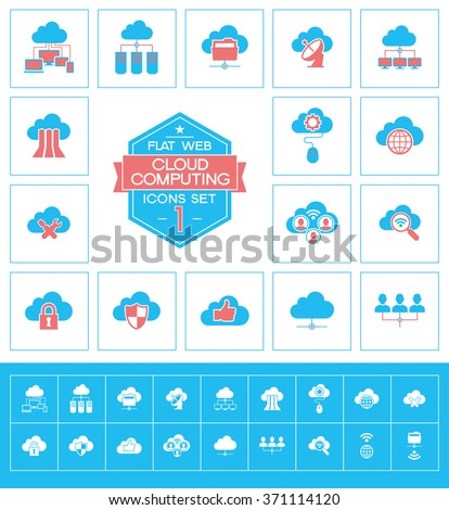 Set cloud computing icons. Trendy cloud computing vector elements.  Modern flat design. - stock vector