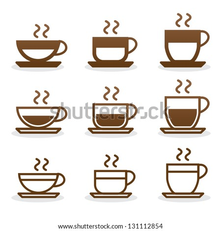Set coffee cups - stock vector