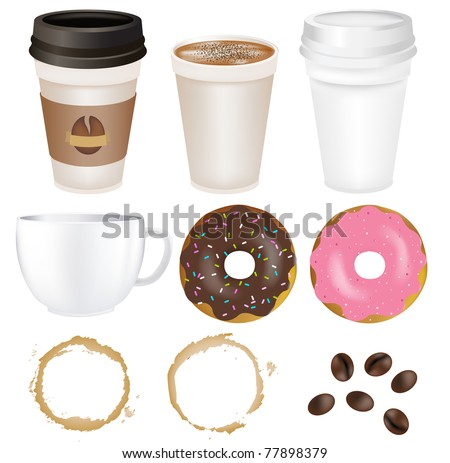 Set Coffee, Isolated On White Background, Vector Illustration - stock vector