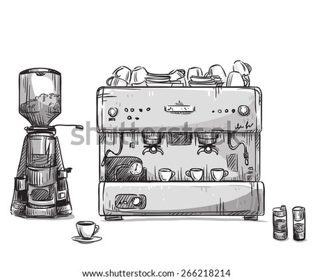 Set coffee making equipment. Coffeemaker and grinder - stock vector