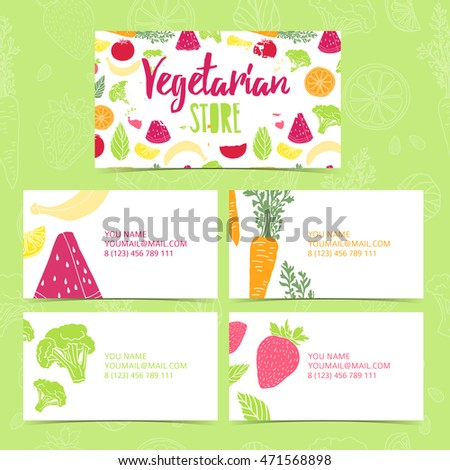 Set collection design template business card. Corporate identity vegetarian store. Business card with decor fruit and vegetable. Layout business card with pattern healthy food.