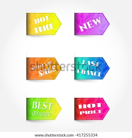 Set, collection, group of colorful, business labels with text, isolated on white background