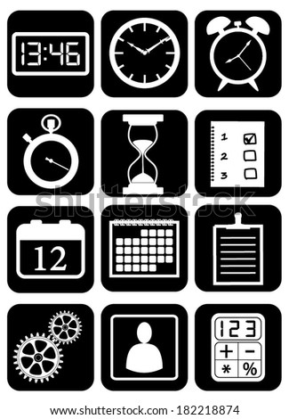 Set, collection, group of different organizer and settings icons and widgets, vector art image illustration, eps10, isolated on black background - stock vector
