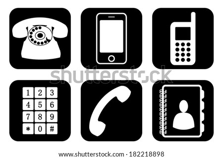 Set, collection, group of different phone icons and widgets, vector art image illustration, eps10, isolated on black background - stock vector