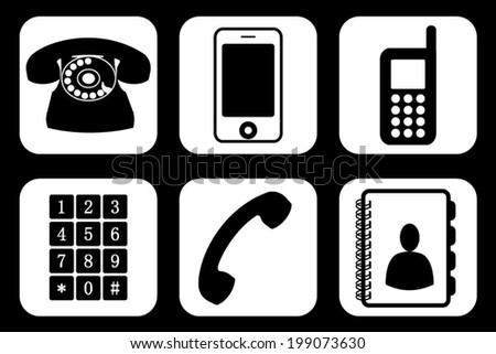 Set, collection, group of different phone icons and widgets, vector art image illustration, eps10, isolated on white background  - stock vector