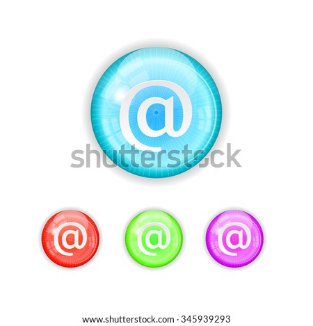 Set, collection, group of four, round, isolated, colorful buttons, icons, signs, labels, badges, stickers with at sign, white background