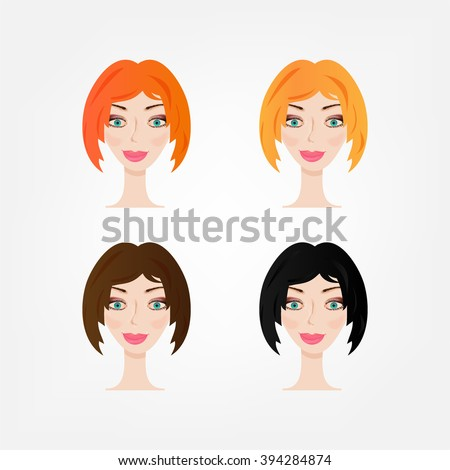 Set, collection, group of four women with red, blond, brown, black hair, isolated on white background - stock vector