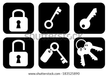 Set, collection, group of keys and padlocks web internet icons, signs, symbols. business, technology icons black and white graphic style design, vector art image illustration, eps10, outline. Isolated - stock vector