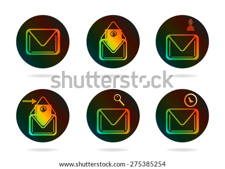 Set, collection, group of six colorful, modern, isolated icons - envelopes, design for website, concept of email - stock vector