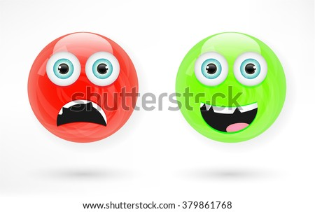 Set, collection, group  of two balls, balloons with face, angry red, smiling green, isolated on white background - stock vector