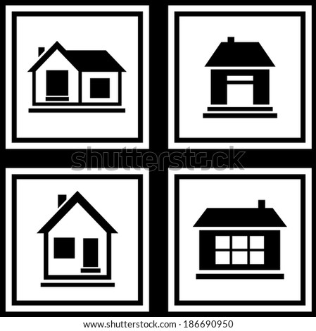 set collection house silhouette on white background icons - stock vector