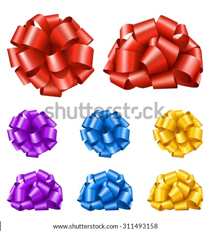 Set Collection of Colorful Festive Ribbon Bows Isolated on White Background - stock vector