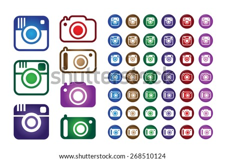 Set Collection of Colorful Hipster Trend Camera and Digital Camera Icons. Vector Illustration - stock vector