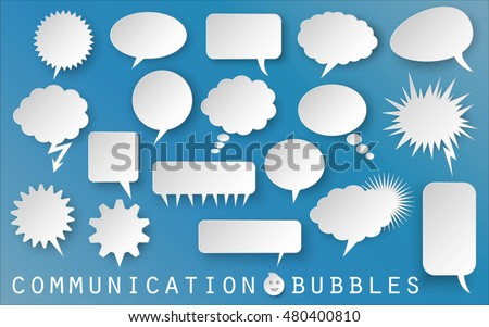 set collection of comic paper speech vector bubbles on blue background