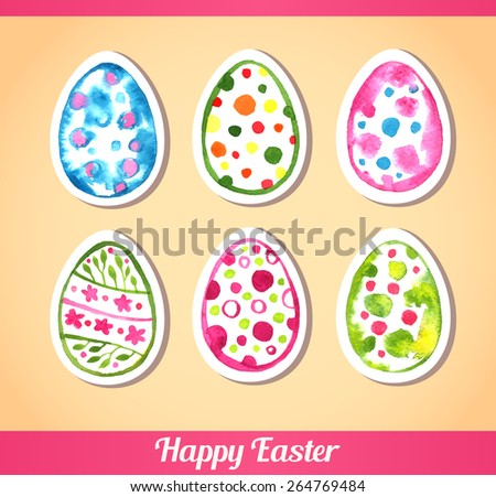 Set collection of easter eggs isolated on beige. Floral pattern. Happy Easter. Text. Vector illustration. Red, pink, orange, yellow, green, blue, purple colors