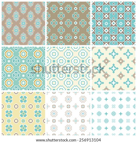 Set/collection of nine abstract geometrical turquoise color based vector seamless pattern/background made in pastel tints - stock vector