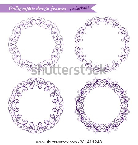 Set collection of round swirl frames. Calligraphy design. Ornamental circle template. Elegant elements isolated on white background. Vector illustration - stock vector